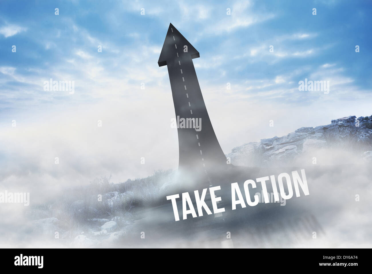 Take action against road turning into arrow - Stock Image