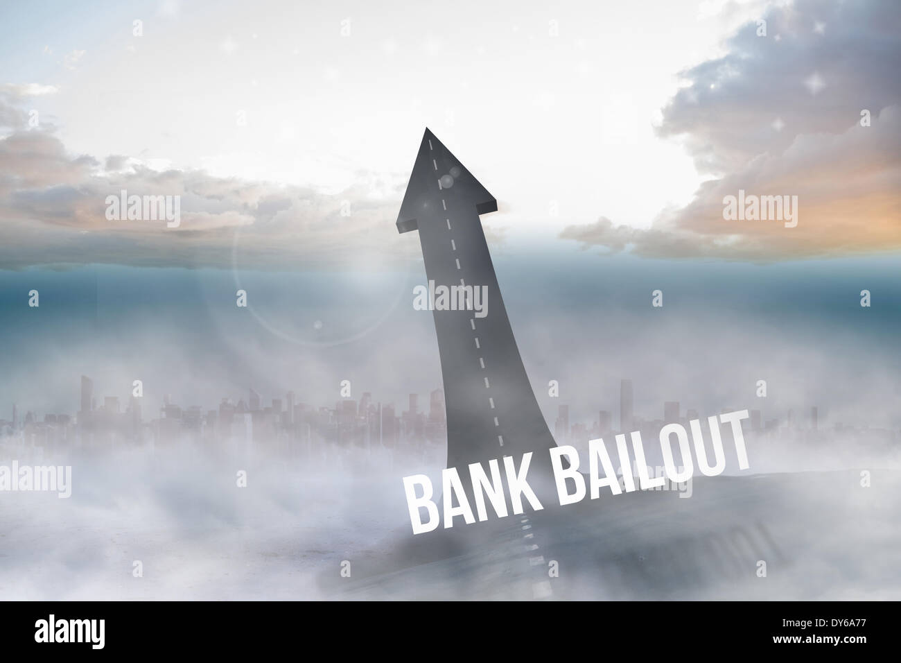 Bank bailout against road turning into arrow - Stock Image