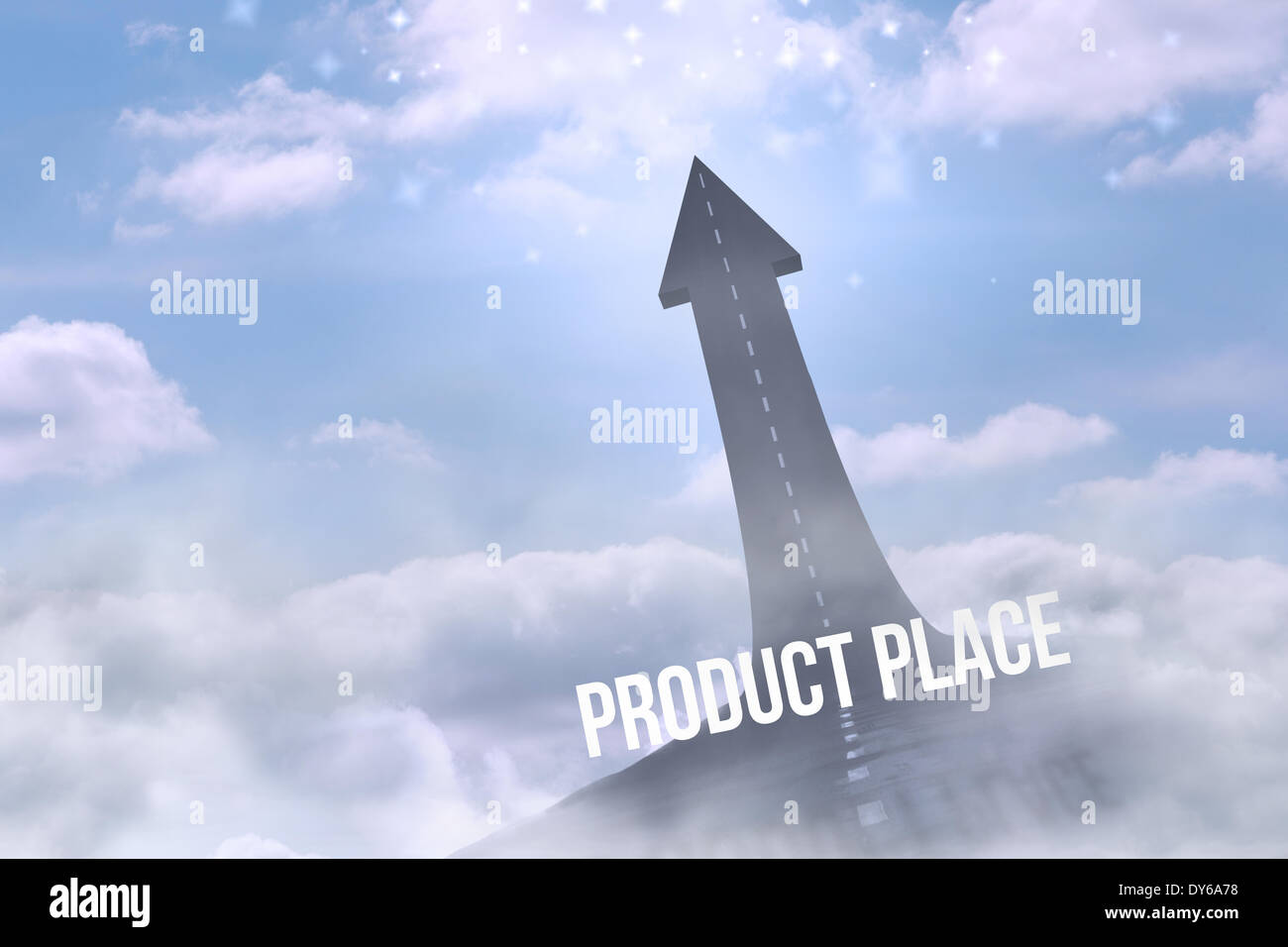 Product place against road turning into arrow - Stock Image