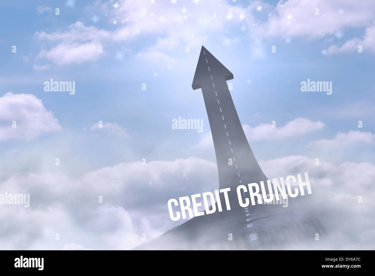 Credit crunch against road turning into arrow - Stock Image