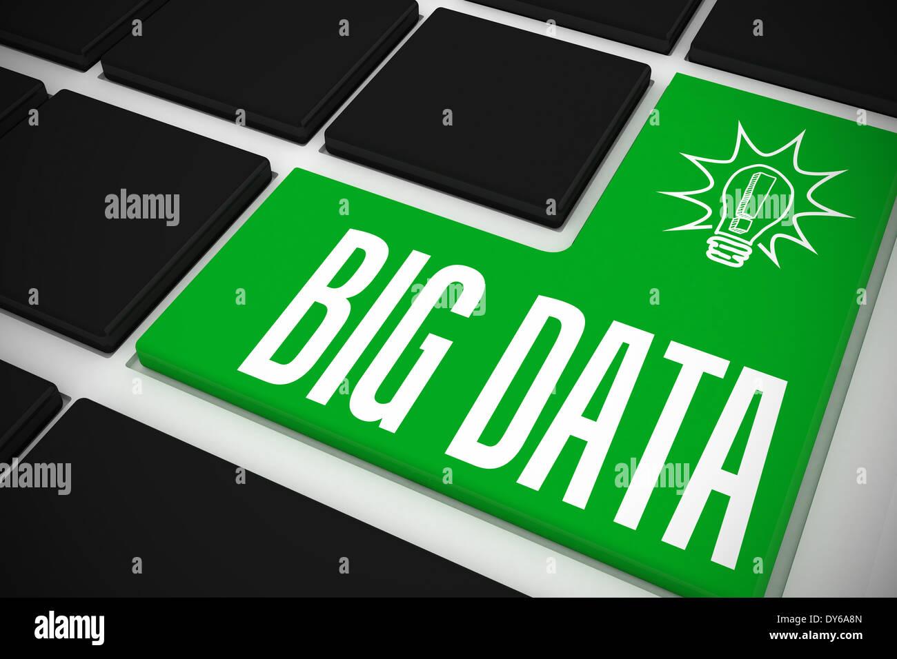 Big data on black keyboard with green key - Stock Image