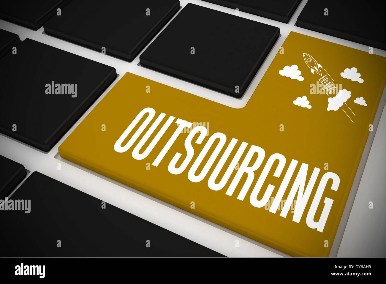Outsourcing on black keyboard with yellow key - Stock Image