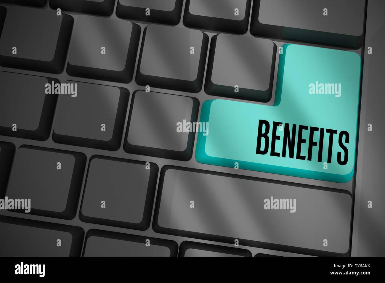 Benefits on black keyboard with blue key - Stock Image