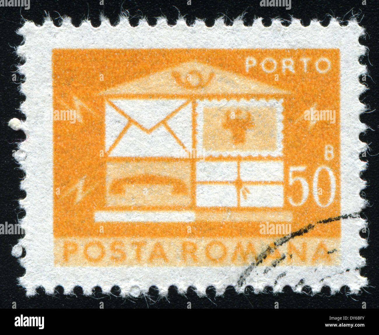 ROMANIA - CIRCA 1982: A stamp printed in the Romania, depicts the postal horn and postal car, circa 1982 - Stock Image
