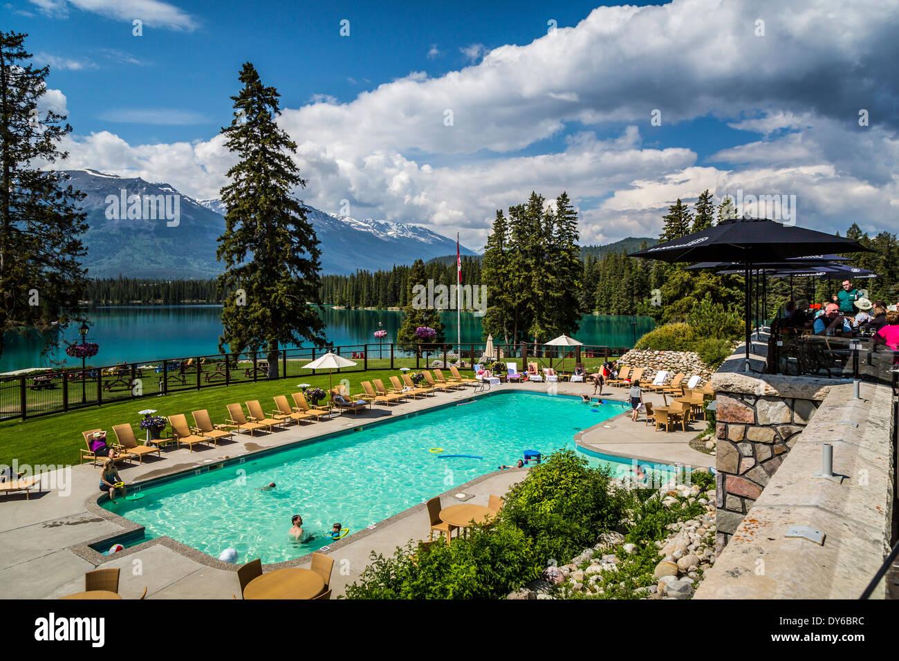 541b4a21451 The swimming pool area at the Fairmont Jasper Park Lodge in Jasper ...