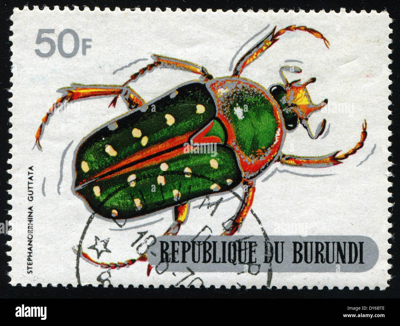 REPUBLIC OF BURUNDI - CIRCA 1970:printed in Republic of Burundi shows shows beetle (STEPHANORRHINA GUTTATA), circa Stock Photo
