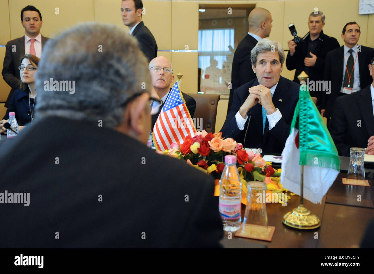 Secretary Kerry Listens to Algerian Foreign Minister at Outset of Strategic Dialogue - Stock Image