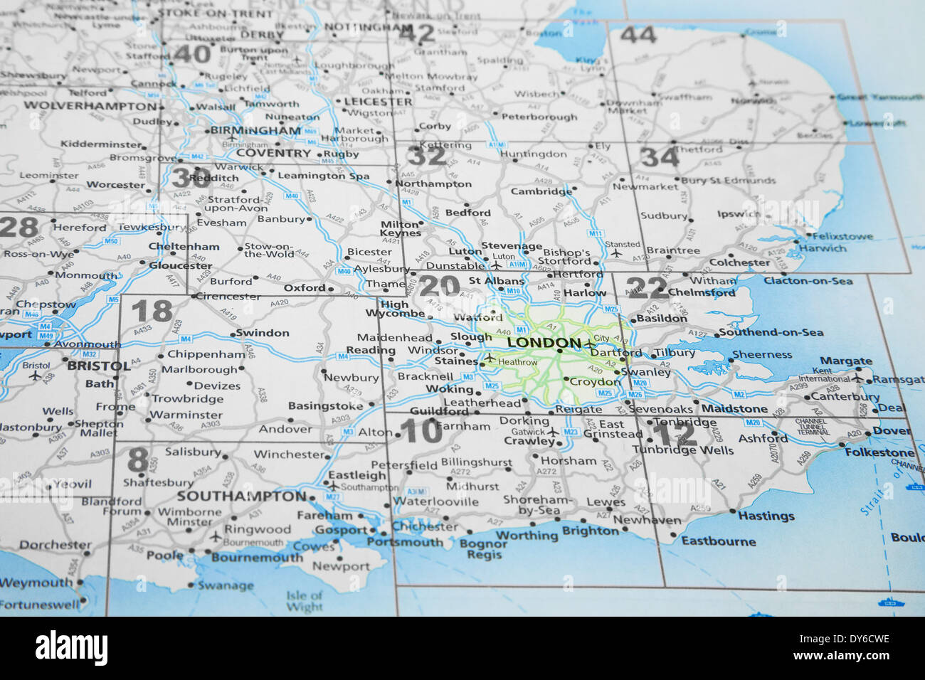 Map Of England South.Map Of South East England With London Highlighted Stock Photo