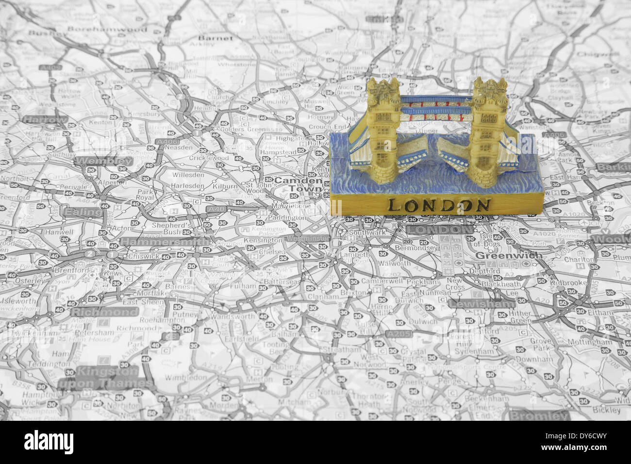 Map London Bridge.Small Model Of Tower Bridge On Top Of A Map Of London Stock Photo
