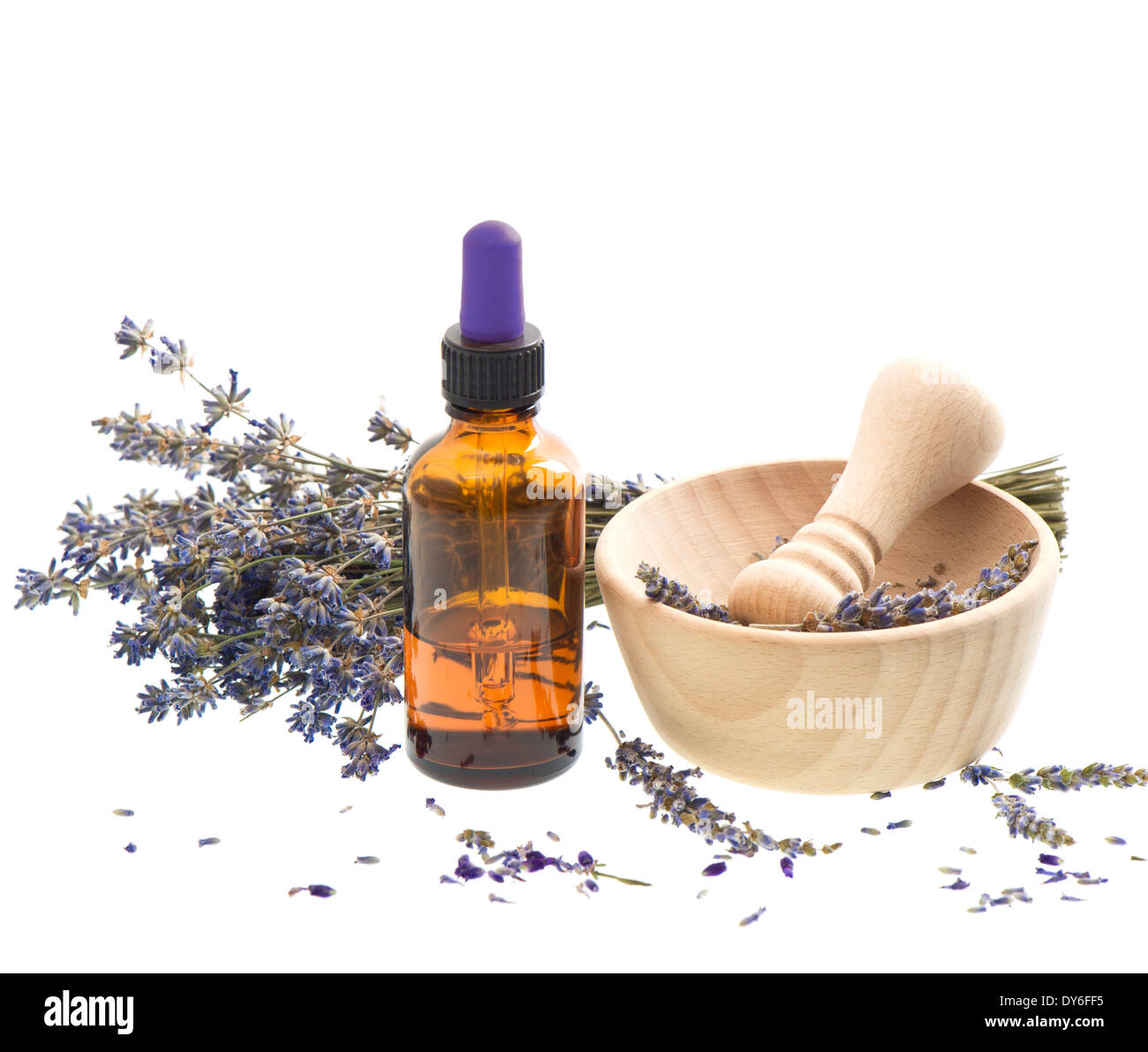 Essential herbal lavender oil with dry flowers and mortar over white essential herbal lavender oil with dry flowers and mortar over white mightylinksfo