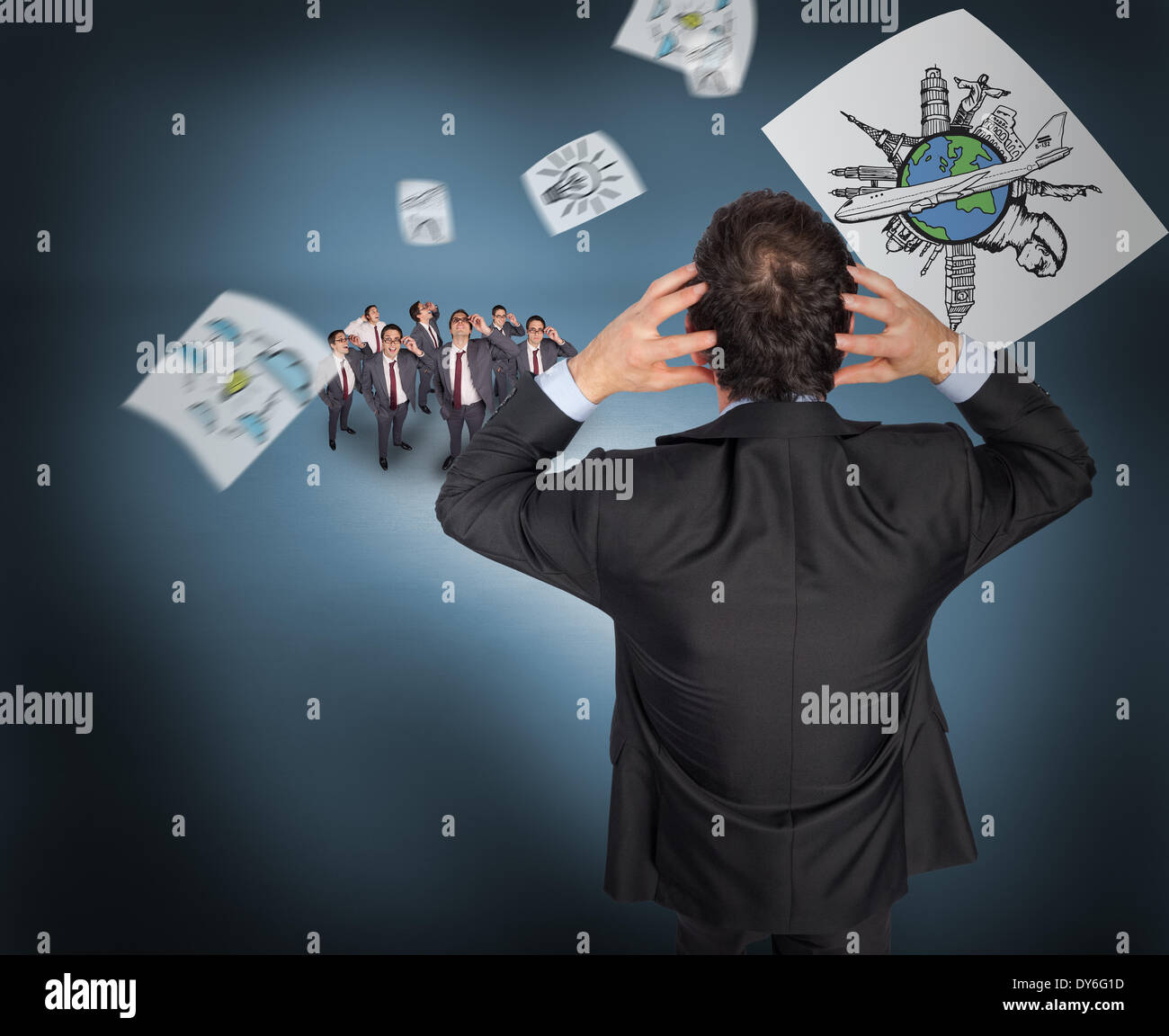 Composite image of stressed businessman with hands on head with tiny businessmen - Stock Image
