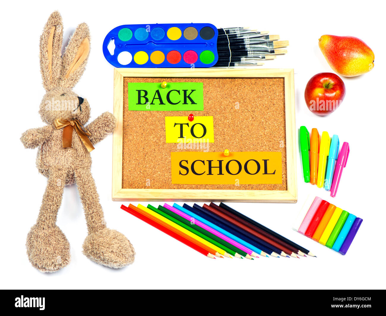 colorful school accesories. back to school background - Stock Image