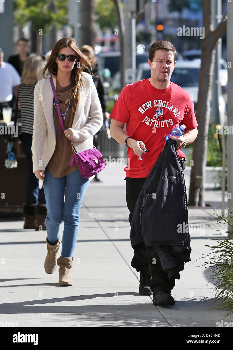 Mark Wahlberg and his wife leaving Jack and Gills restaurant in Beverly Hills after having lunch togetherFeaturing: Rhea Durham,Mark Wahlberg Where: Beverly Hills CaliforniaWhen: 13 Dec 2012 - Stock Image