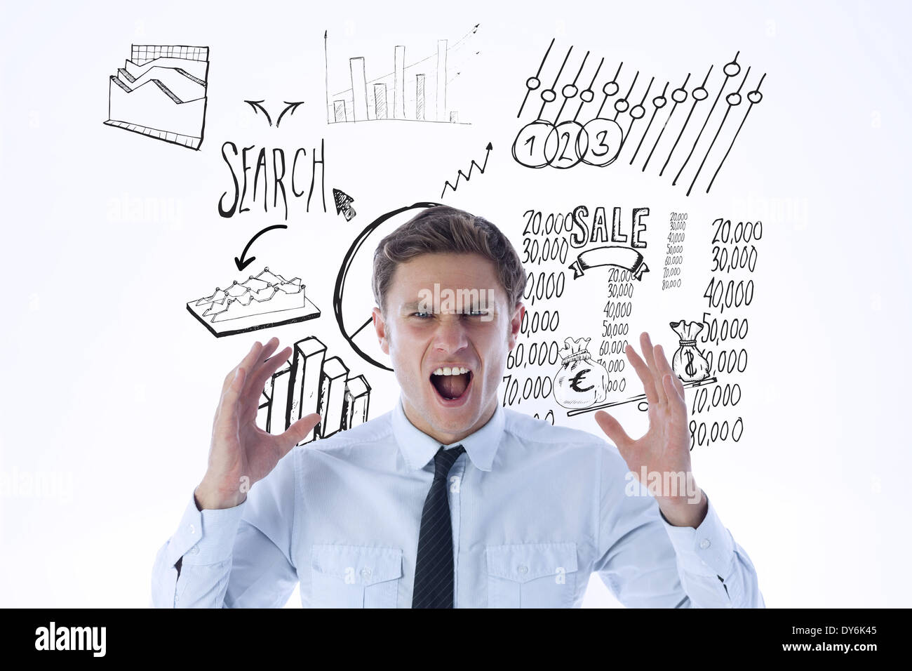 Composite image of angry businessman shouting - Stock Image