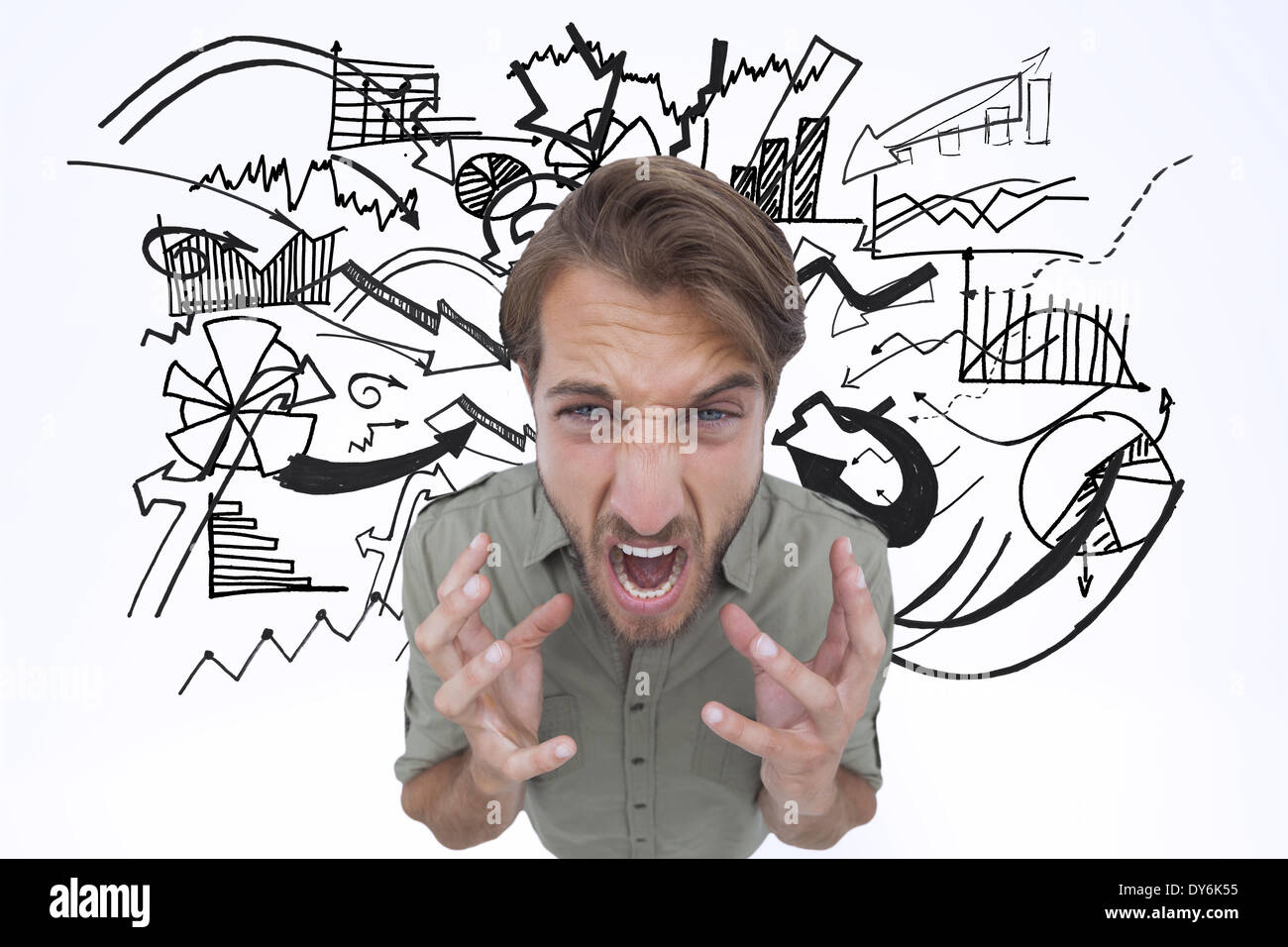 Composite image of angry man shouting - Stock Image