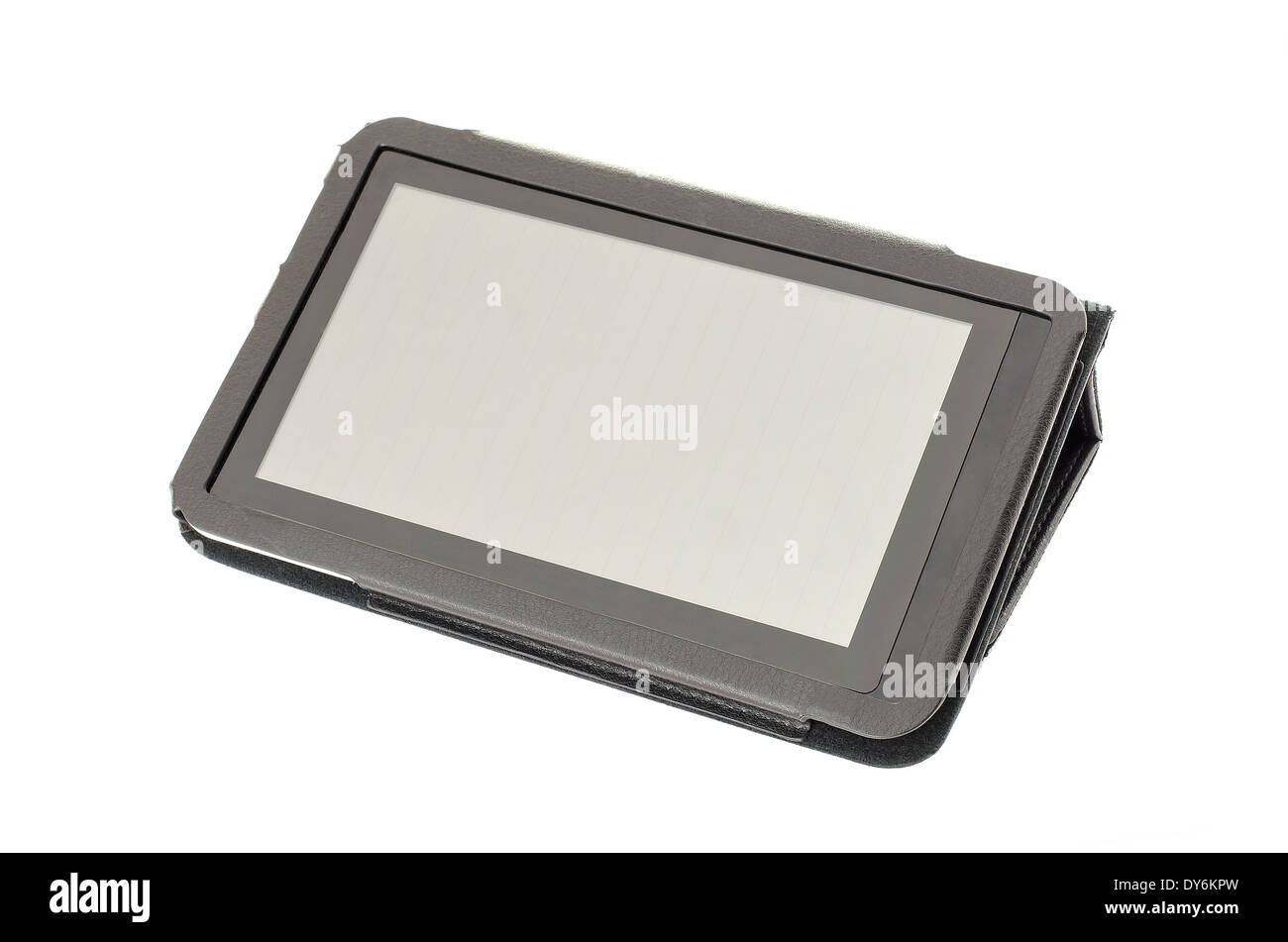 Tablet PC in its holder stand, on a white background. - Stock Image