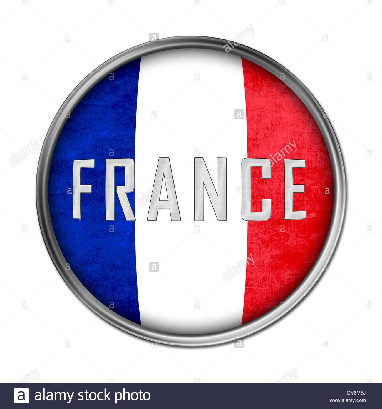 French flag icon button - Stock Image