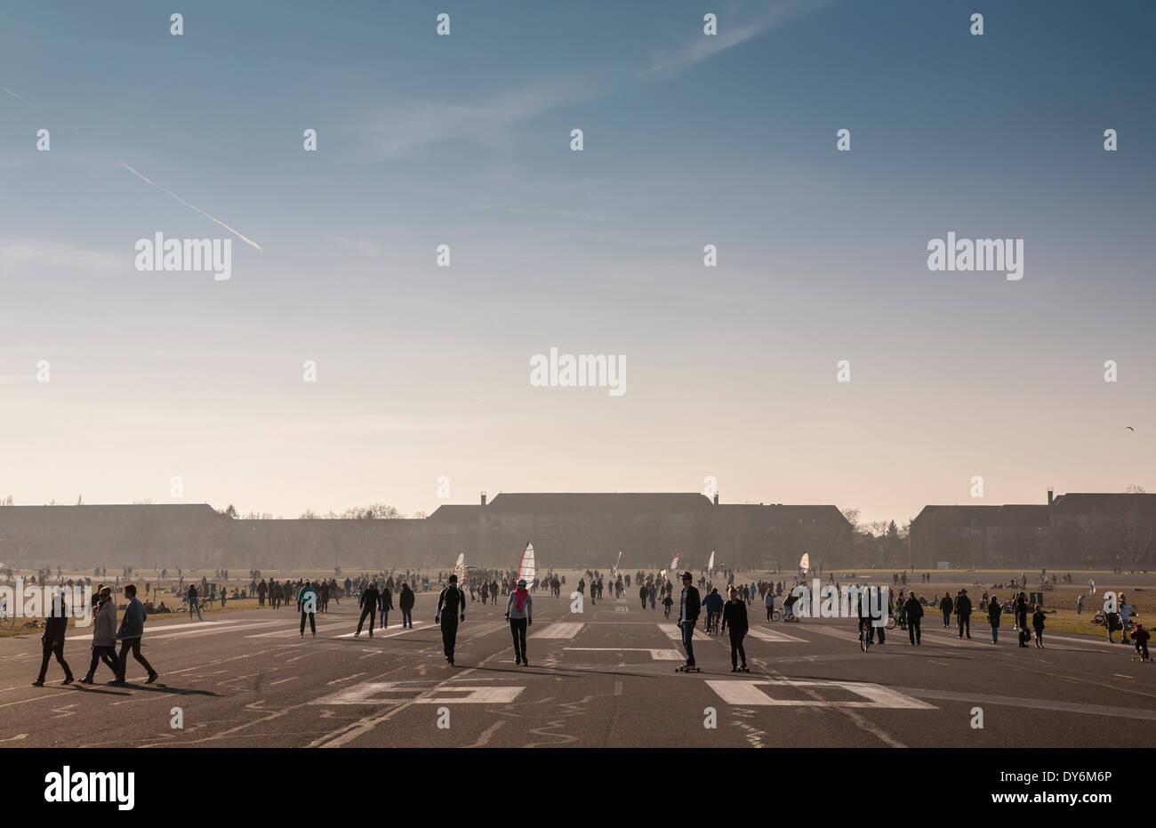 Tempelhof park at former Tempelhof Airport, Berlin, Germany - Stock Image