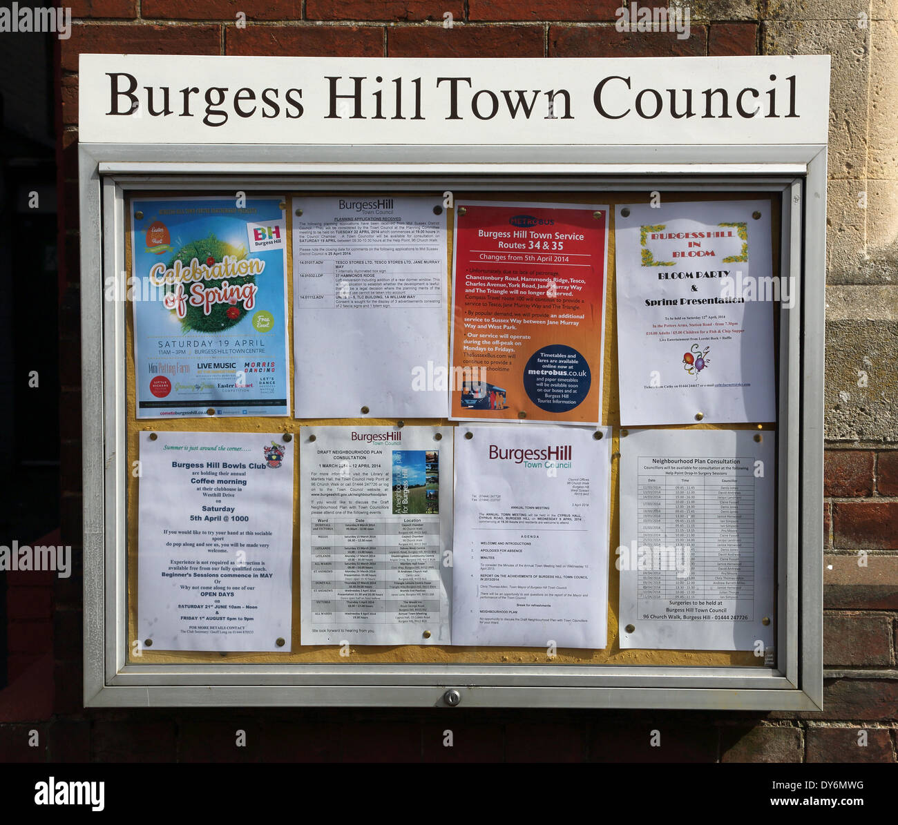 the town council notice board in burgess hill west sussex - Stock Image