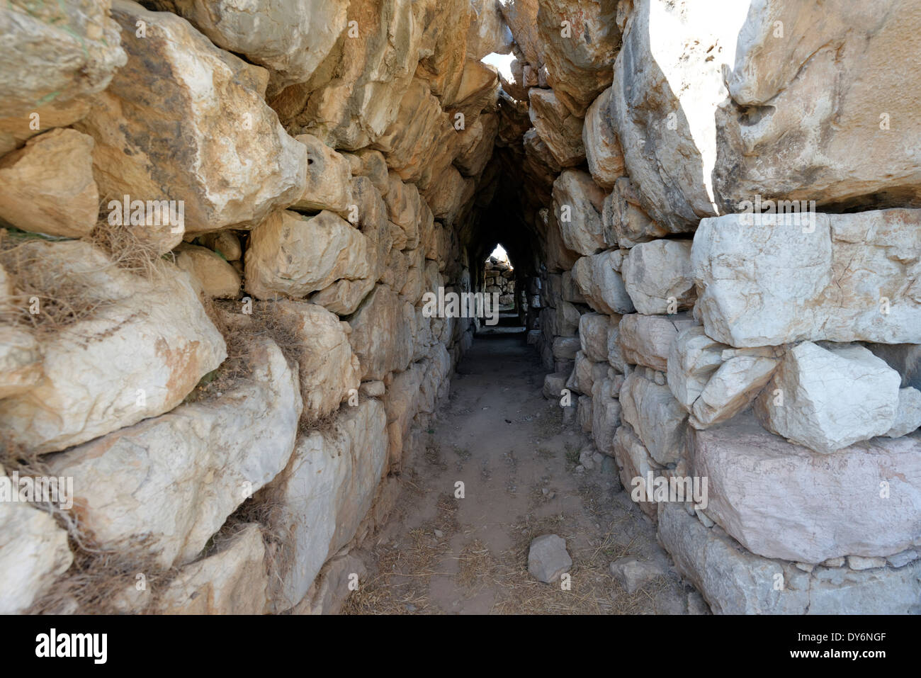 The east vaulted chambers or casemates built into ramparts Mycenaean fortress Tiryns Peloponnese Greece Possibly the - Stock Image