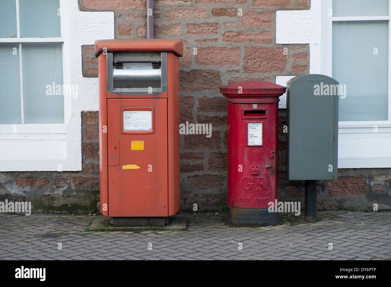 Post boxes on the corner of Montague Row, Inverness, Scotland - Stock Image