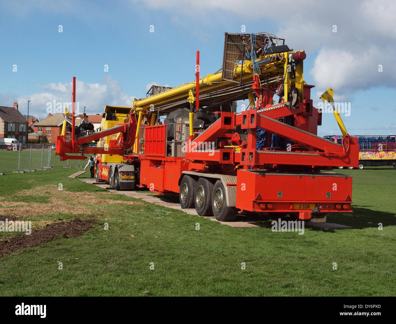 Newcastle Upon Tyne UK 8th April 2014. The funfair arrives on the links, Whitley Bay for the annual Easter break. Credit:  james walsh/Alamy Live News - Stock Image