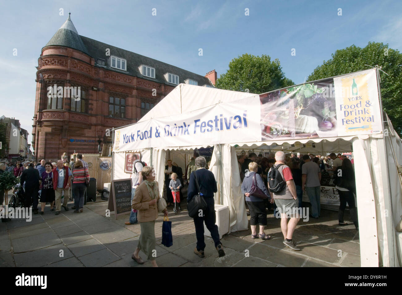 york food festival uk town center busy high street streets - Stock Image