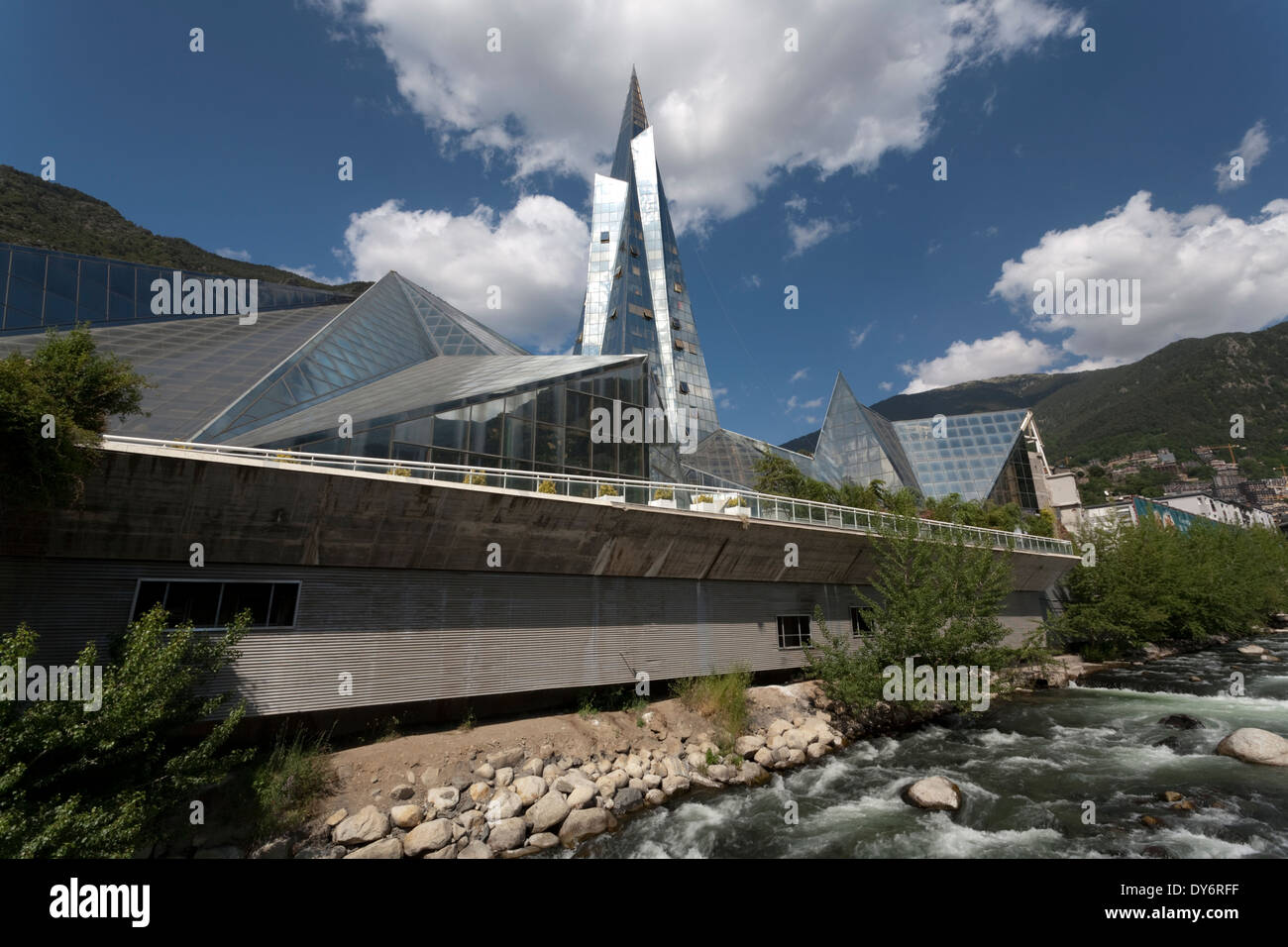 The Glass Covered Spa Caldea And The River Valira In The Country