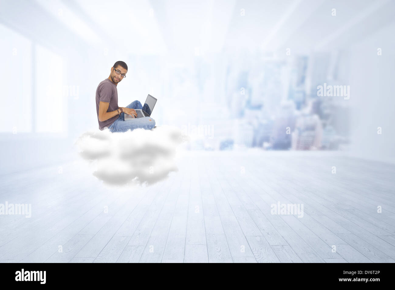 Composite image of man wearing glasses sitting on cloud using laptop and looking at camera - Stock Image