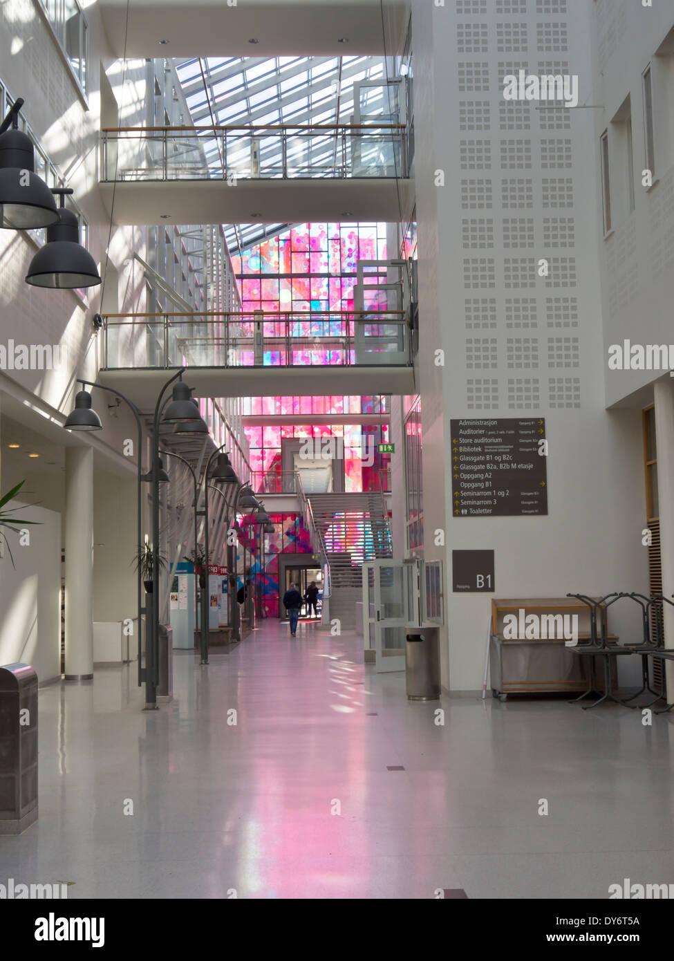 Rikshospitalet, The National Hospital, interior arrival area 'the street' , hall art and light, Oslo University Hospital Norway - Stock Image