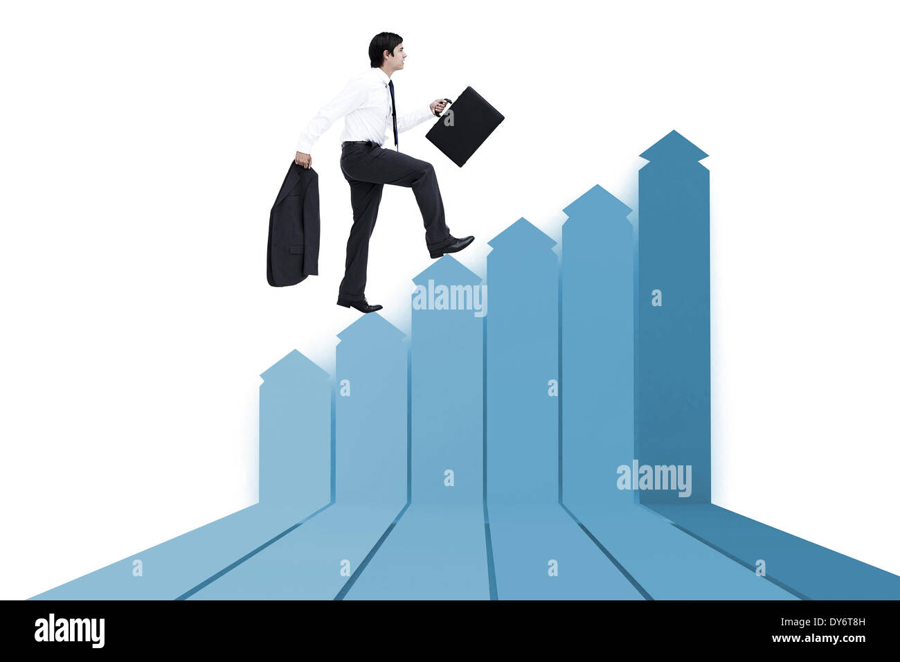 Composite image of side view of walking tradesman with jacket and suitcase - Stock Photo