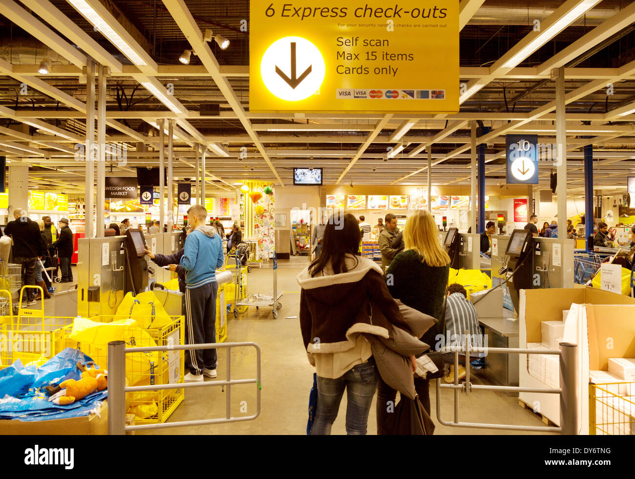 ikea store interior people shopping and waiting at the checkout stock photo 68377948 alamy. Black Bedroom Furniture Sets. Home Design Ideas