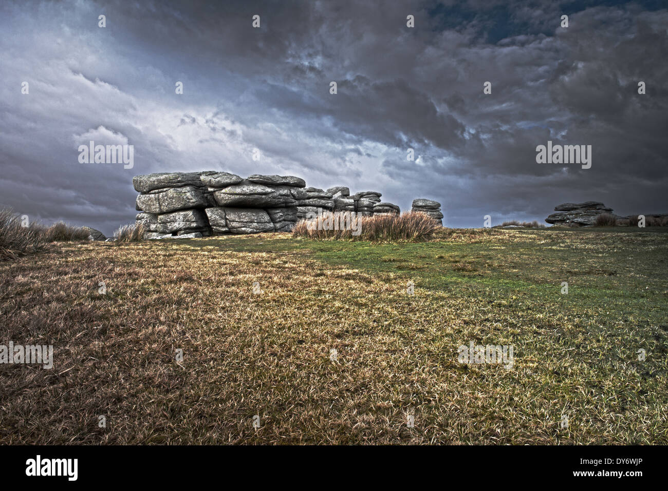 Coombestone Tor,Near Hexworthy Between Ashburton And Princetown On Dartmoors National Park, England, Uk. - Stock Image