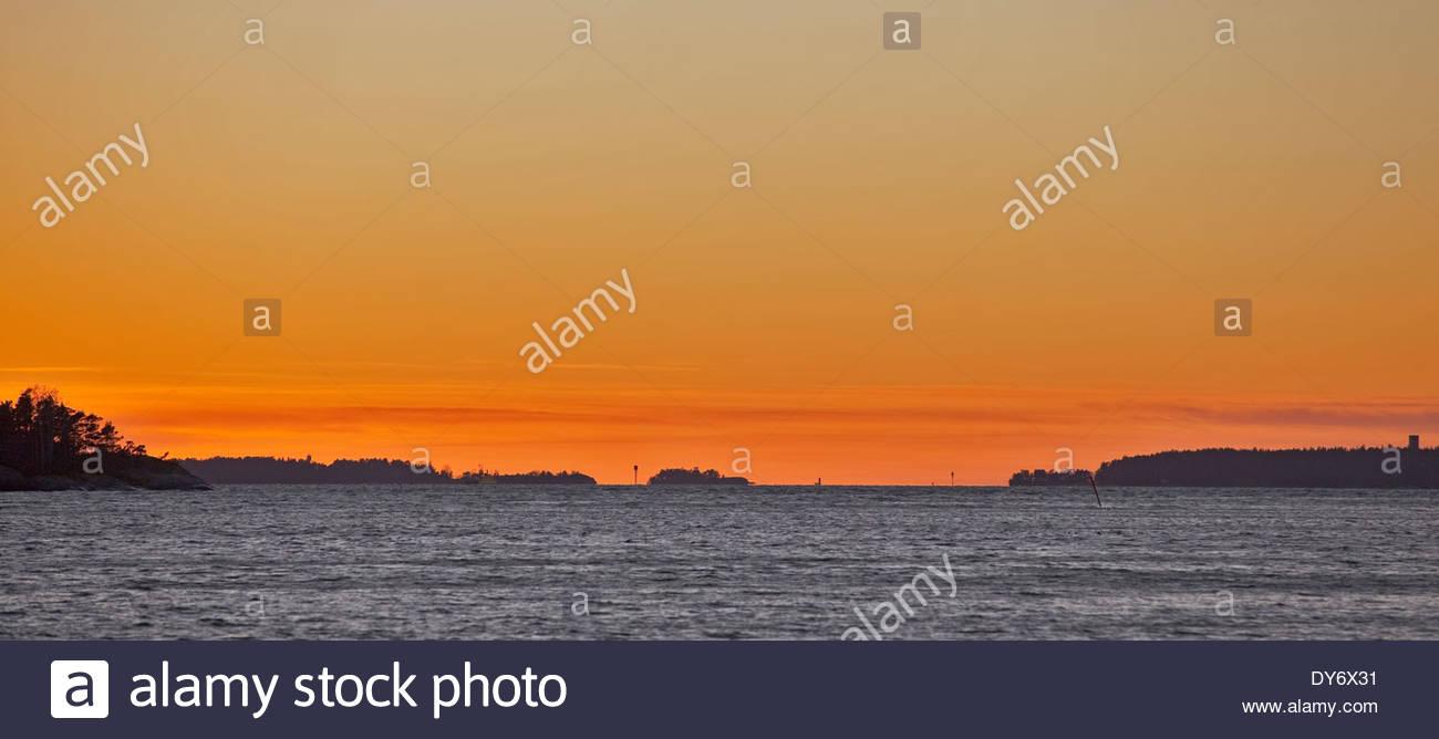 Beautiful evening in the archipelago of Turku - Stock Image