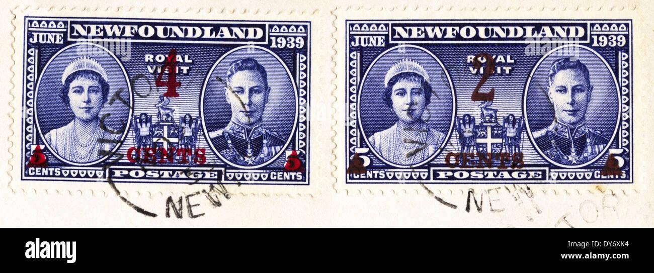 Commemorative Newfoundland Canada postage stamps Royal Visit postmarked Victoria June 1939 - Stock Image