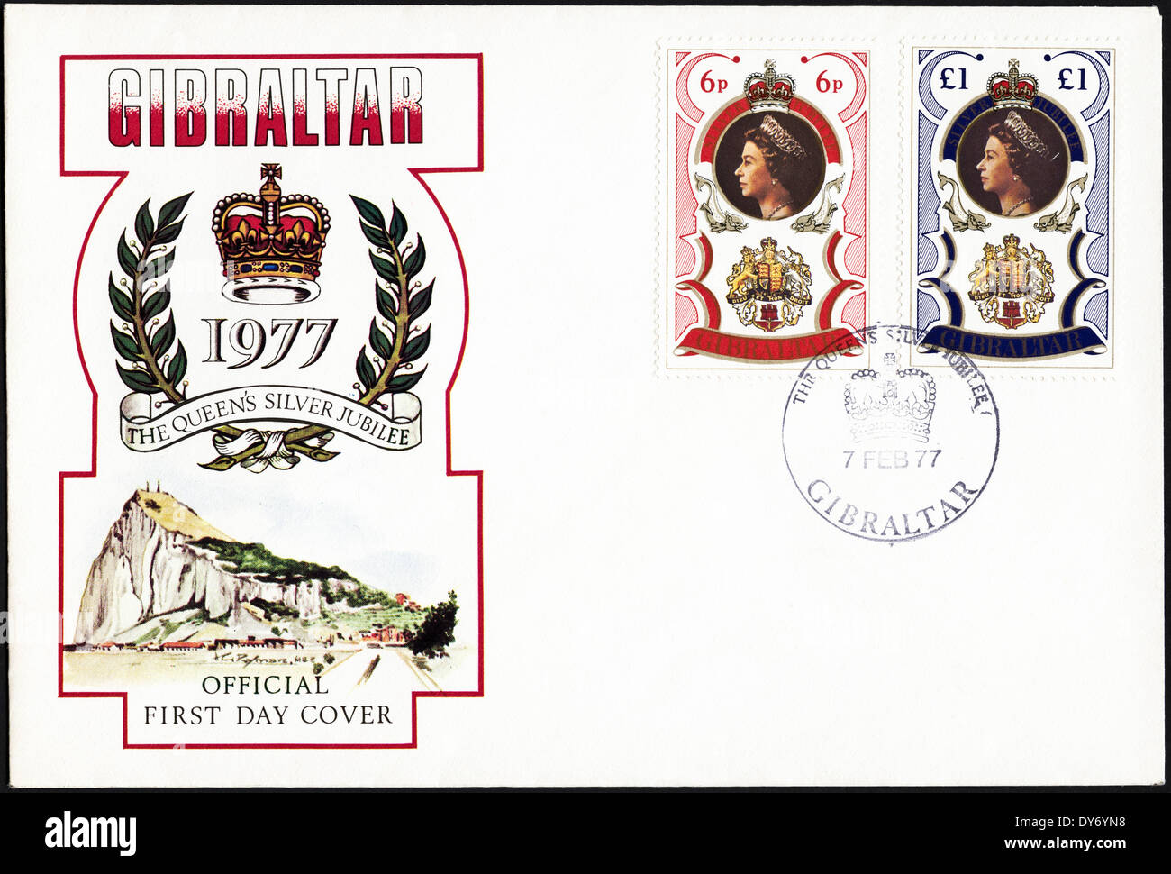Commemorative first day cover Gibraltar postage stamps The Queen's Silver Jubilee postmarked 7th February 1977 - Stock Image