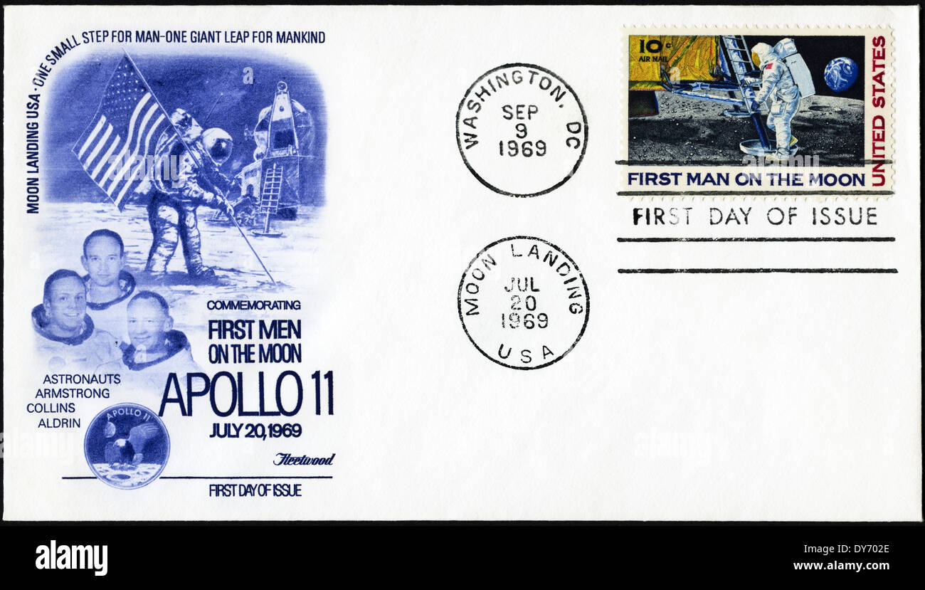 Commemorative first day cover USA postage stamps featuring First Man on the Moon Apollo 11 postmarked Moon Landing Stock Photo