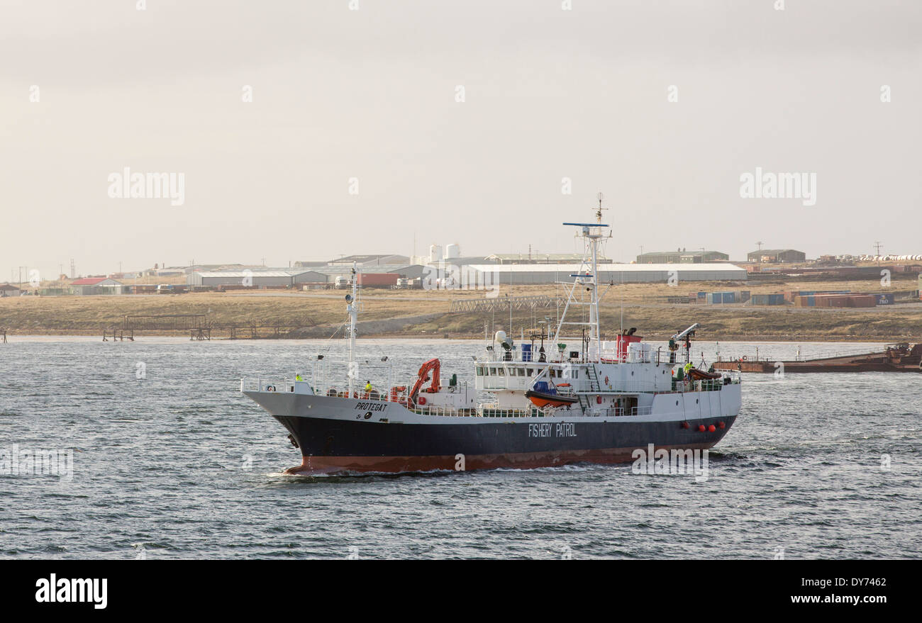 A Fisheries Patrol vessel leaves Port Stanley in the Falkland Islands, to patrol the territorial warers for illegal Stock Photo