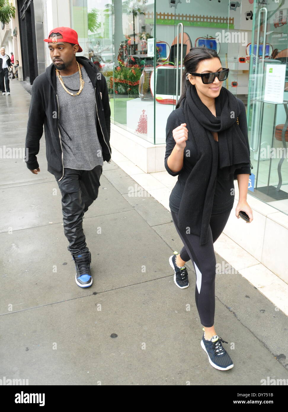 Kim Kardashian and Kanye West out and about on Christmas Eve Stock ...