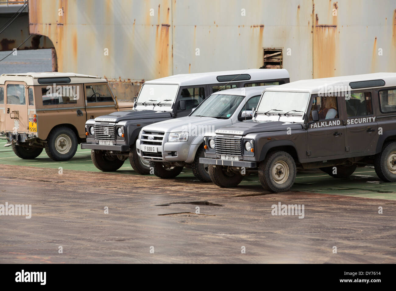 Falklands security vehicles in Port Stanley in the Falkland Islands. Stock Photo