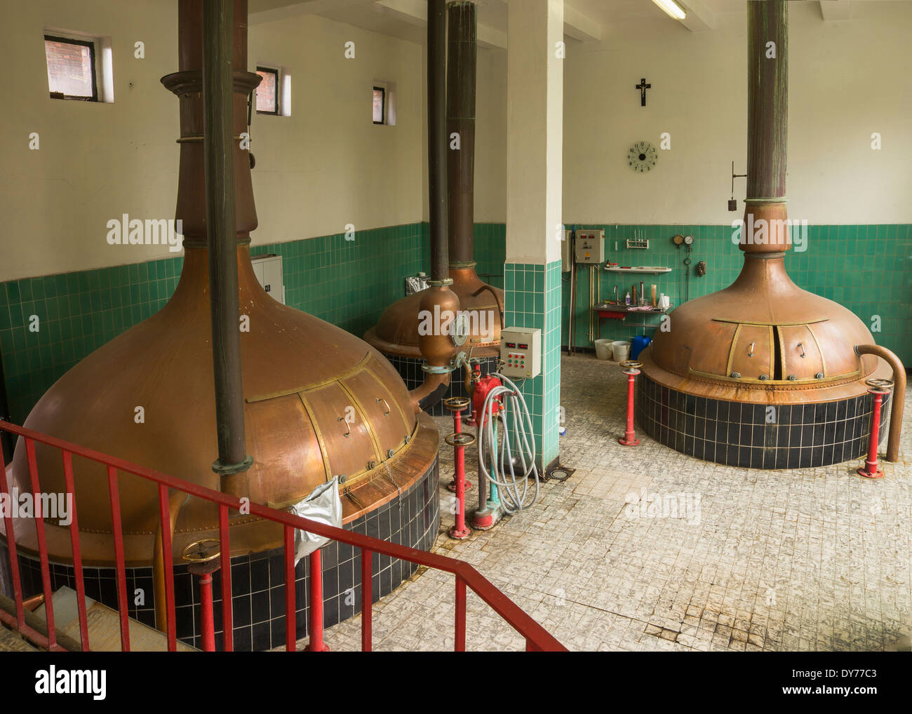 Lower level of brew house at Brewery 'Het Sas' in Boezinge, Belgium. - Stock Image