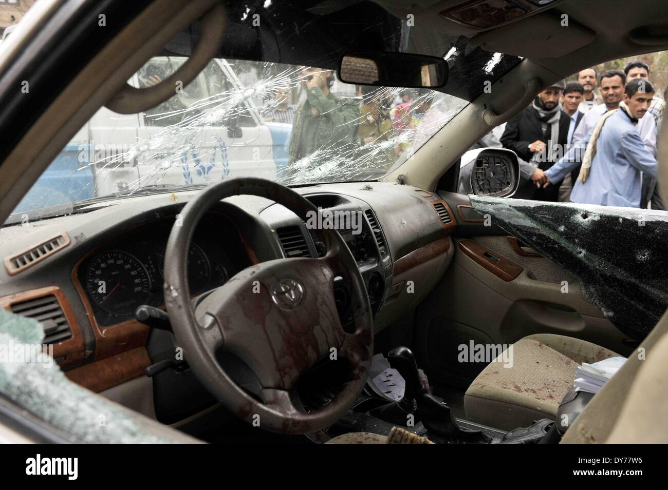 Bullet Holes And Blood Are Seen In Ismail Al Wazirs Car Sanaa Yemen On April 8 2014 Shiite Politician Wazir Was Attacked Tuesday By