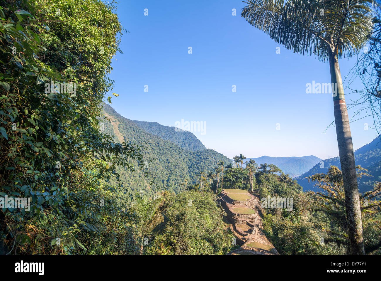 The Lost City, or Ciudad Perdida in the Sierra Nevada de Santa Marta mountain range in Colombia - Stock Image