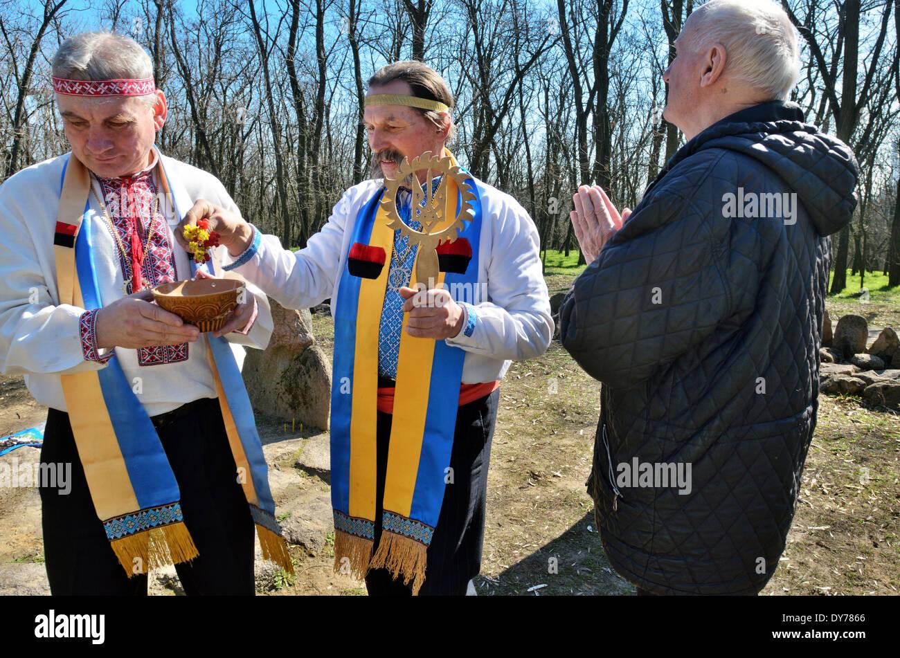 Proto-Slavic pagan rituals in Ukraine  Priest bless the