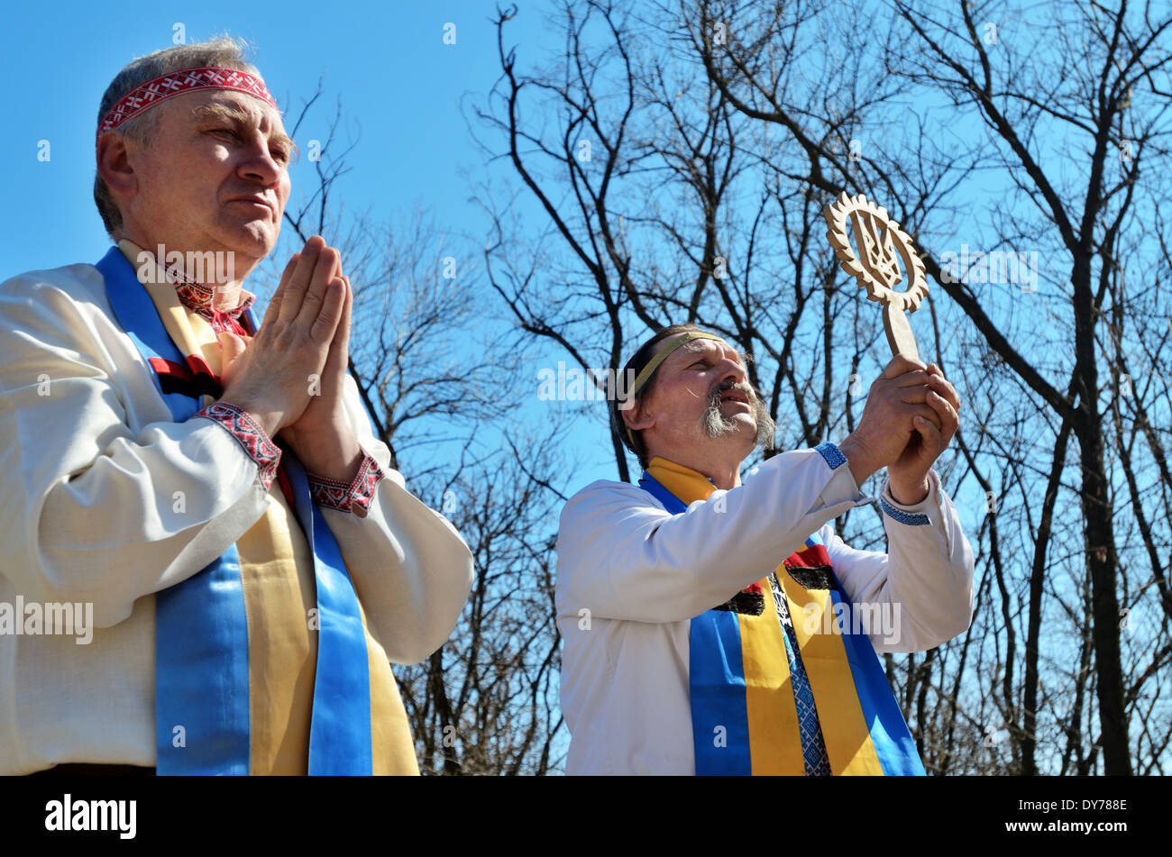 Proto-Slavic pagan rituals in Ukraine  Priests pray to the