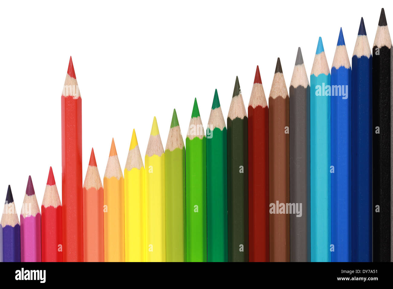 Pencils forming a chart with a red pencil standing out from the crowd - Stock Image