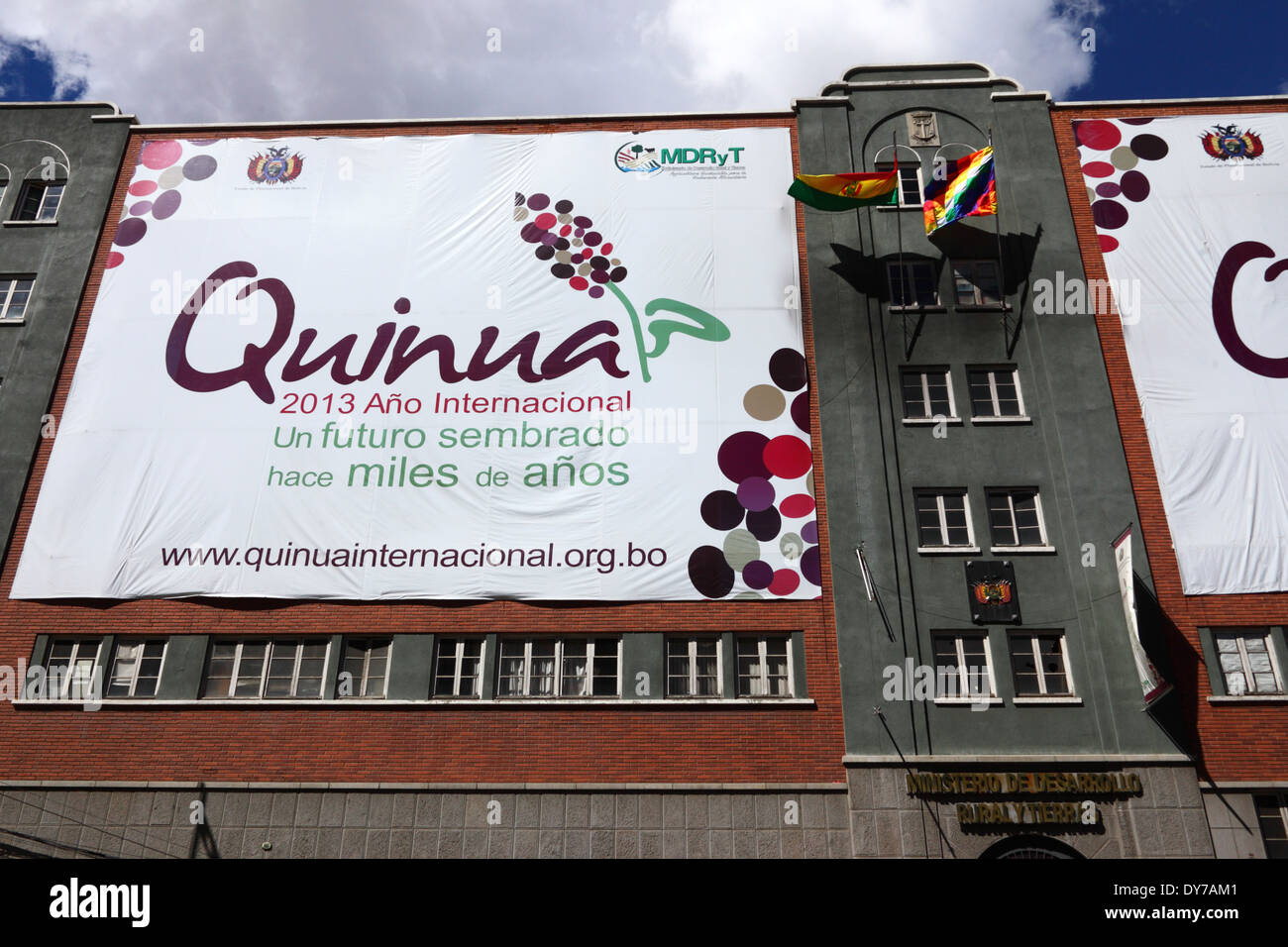 Banner promoting 2013 as International Year of Quinua on Rural Development and Land Ministry building, La Paz, Bolivia - Stock Image
