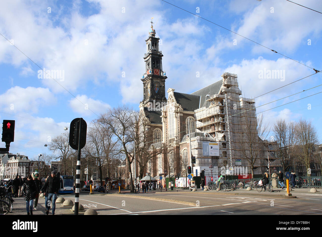 Westerkerk ('Western church'), a  Dutch Protestant church,  next to Amsterdam's Jordaan district, on Prinsengracht canal bank - Stock Image