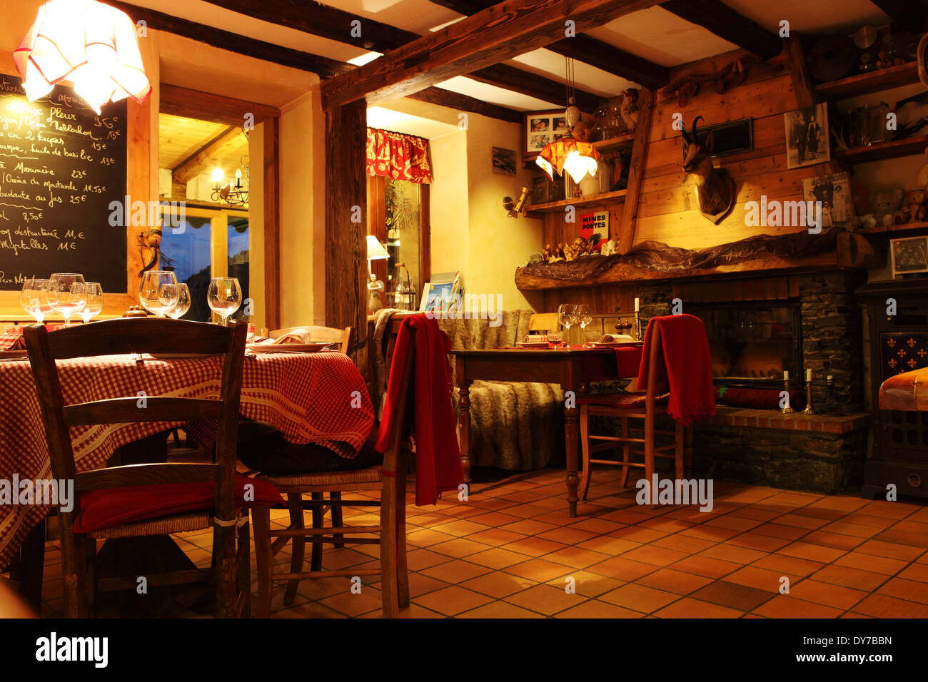 The Au P'tit Creux restaurant in Alpe d'Huez, France. Stock Photo