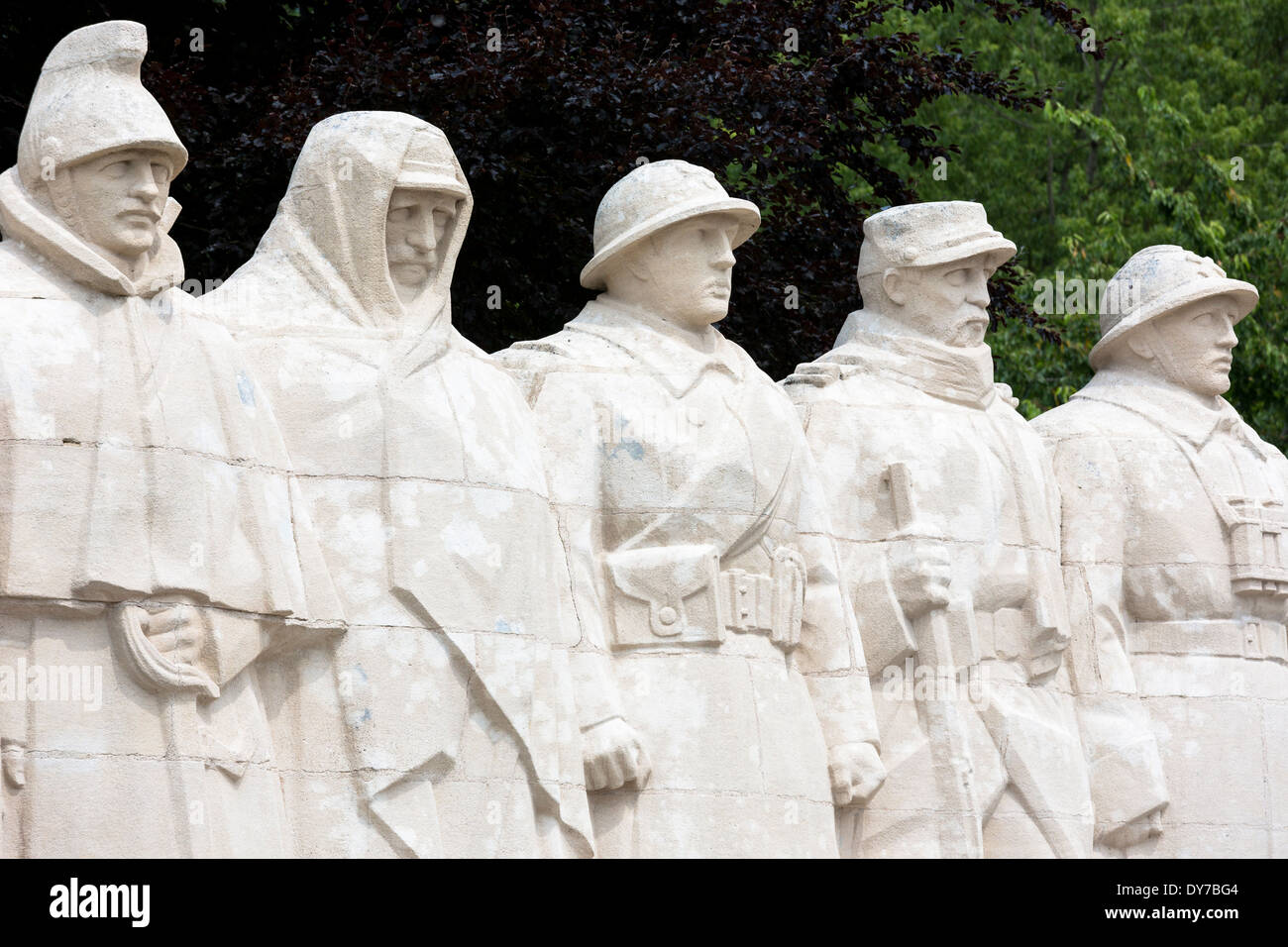 World War One Monument for Sons of Verdun - cavalry, artillery, territorial, infantry,  colonial and named dead soldiers, France - Stock Image